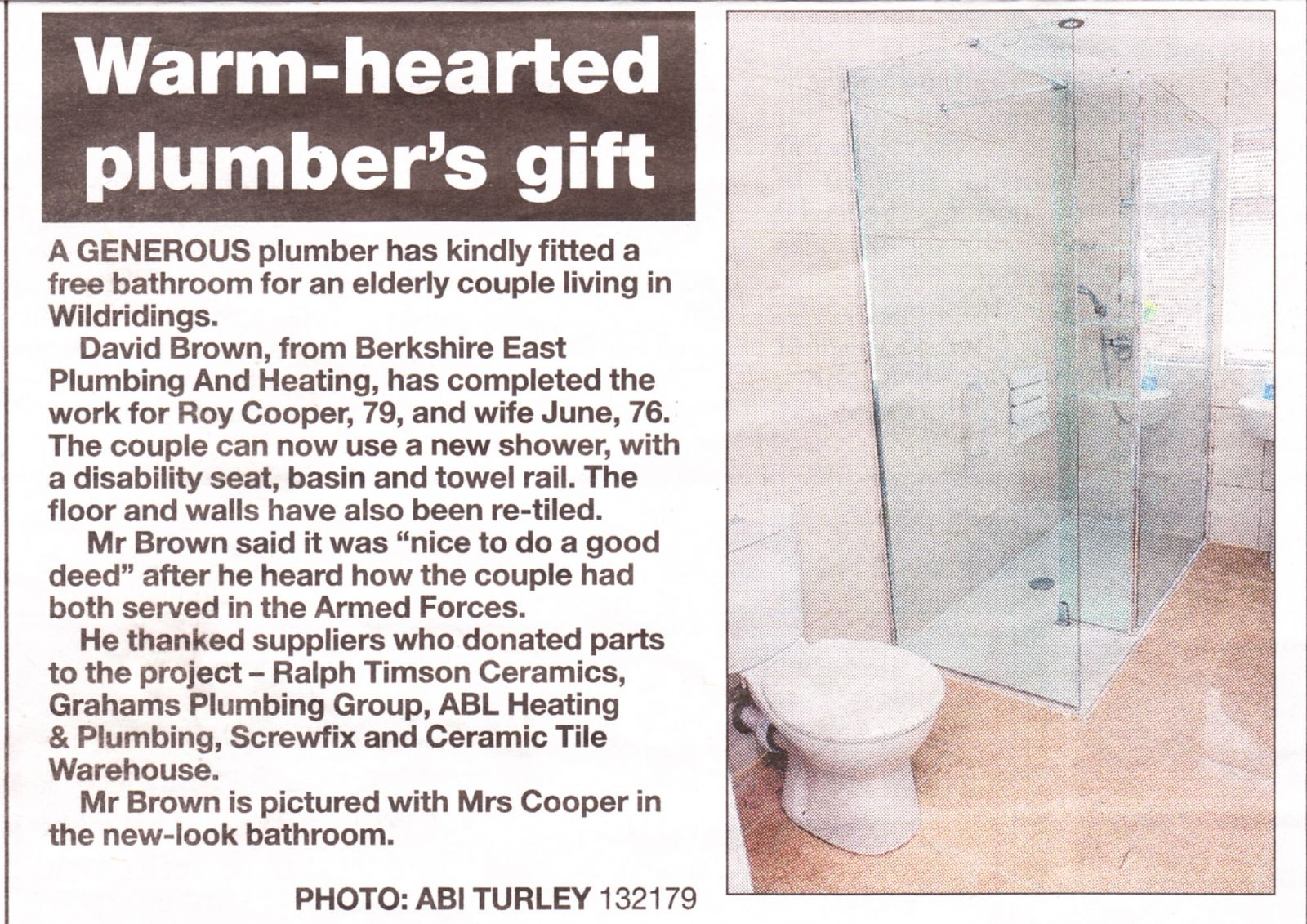 Warm-hearted plumber's gift